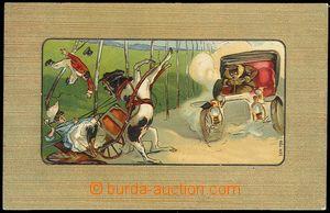 73534 - 1909 automobil a splašené koně, okénková litografie, tl