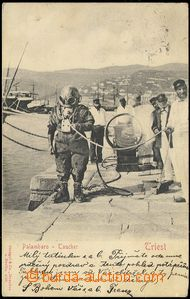 73538 - 1905 diver at the port Trieste; long address, Us, bumped cor