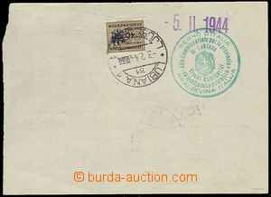 73597 - 1944 cut cheque order, on the reverse side Italian stmp with