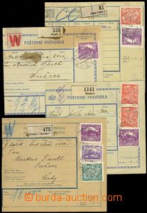 73644 - 1919-1920 comp. 4 pcs of big parcel dispatch card segments f