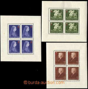 73687 - 1942 Mi.696A-698A, Red Cross, blocks of four with margin, pe