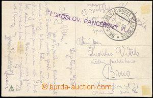 73724 - 1919 Czechosl. armoured train, violet straight line postmark