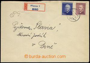 73738 - 1948 ČSR II.  R-dopis vyfr. zn. Beneš 3Kčs a 5Kčs s perf