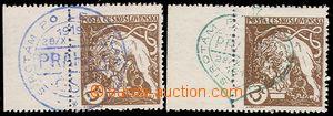 73794 - 1919 Pof.28a, 25h 2x light brown, marginal pieces, perforate