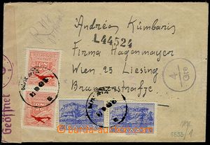 73795 - 1943 Reg and airmail letter with Mi.450 2x,472 2x, one stamp