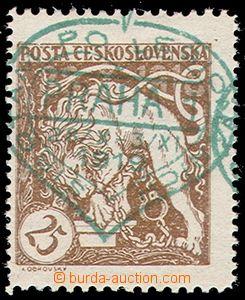 73803 - 1919 Pof.28aB, 25h světle hnědá, celý zelený přítisk (list),