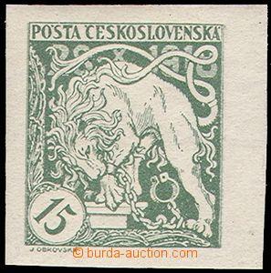 73805 - 1919 Pof.27aN, 15h nezoubkovaná světle zelená, bez přítisku,