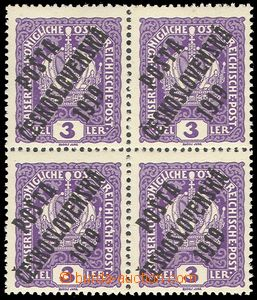 73818 -  Pof.33x, Crown 3h, block of four, strong paper, mint never