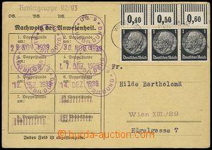 73822 - 1939 korespondenční lístek zaslaný jako tiskopis po Víd