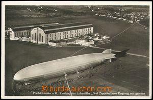 73856 - 1937 vzducholoď Graf Zeppelin, letiště, hangáry; prošl�