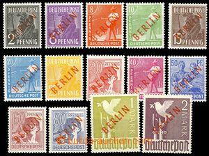 73885 - 1949 Mi.21-34, red Opt BERLIN, superb, exp. Lippschutz or Sc