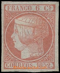 73894 - 1852 Mi.12a, Queen Isabel II., value 6Cs pink, wide margins,