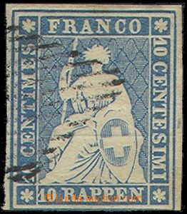 73902 - 1854 Mi.14I.b, 10Rp Sitting Helvetia, overall very good, onl