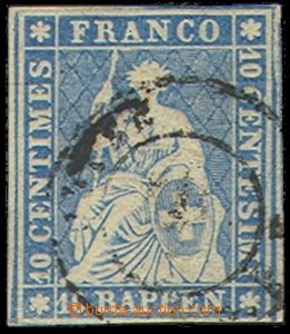 73904 - 1854 Mi.14II.Ayo, 10Rp Sitting Helvetia, wide margins, c.v..