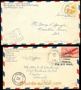 73923 - 19?? USA  2x air-mail letter transported A.P.O., 1x postal s