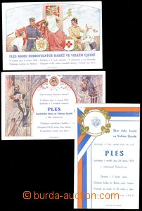 73955 - 1938-41 FIREFIGHTERS, 3 pcs of ball invitation-cards on/for