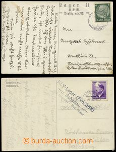 74021 - 1941-43 KLV LAGER  2x pohlednice s razítky dětských ozdra