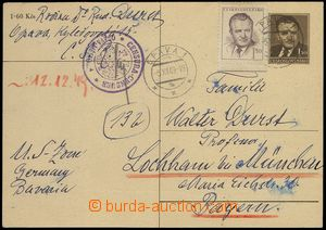 74023 - 1949 CENSORSHIP, PC CDV94 with uprating, to Germany, round c