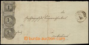 74029 - 1853 whole front side of letter with 3x Mi.5, from that 1x v