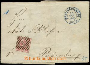 74031 - 1862 folded letter with Mi.12Ab, numeral pmk 8 + blue CDS Br