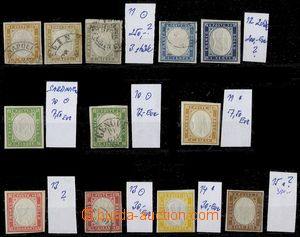 74076 - 1855-63 comp. 12 pcs of stamps, Mi.10-15, various color, par