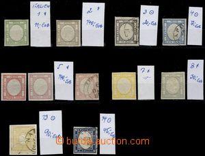 74077 - 1861-63 sestava 11ks známek prvních emisí Mi.1-5, 7-8, 13
