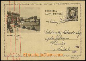 74082 - 1940 CDV4/9, Picture Piešťany, to BOHEMIA-MORAVIA, censors