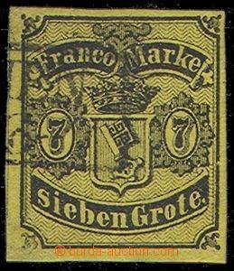 74086 - 1860 Mi.3, very wide margins, fragment frame cancel. Bremen,