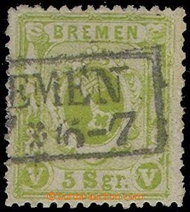 74088 - 1867 Mi.15a, zelenožlutá, fragment frame cancel. Bremen, R