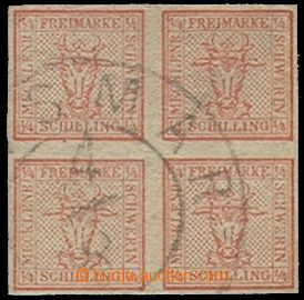 74091 - 1856 Mi.1, full margins, almost complete double circle pmk W