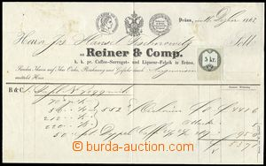 74103 - 1863 invoice Likérka Reiner Brno, mounted 5 Kreuzer revenue