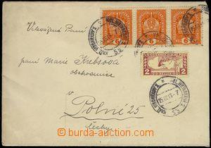 74179 - 1918 dopis vyfr. 3-páskou 6h Koruna Mi.187 + 2h spěšná Mi.21