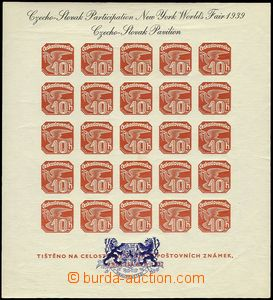 74189 - 1939 Exile issue, Pof.AS2d, newspaper miniature sheet ANV18,