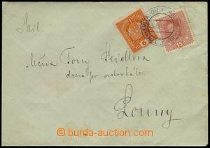 74212 - 1918 dopis vyfr. rakouskými známkami Mi.187, 221, DR TÝN nad