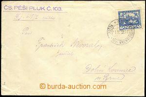 74255 - 1919 dopis vyfr. zn. 25h modrá Hradčany s razítkem Čs.PP