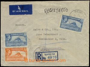74285 - 1949 Reg and airmail letter addressed to to Czechoslovakia,