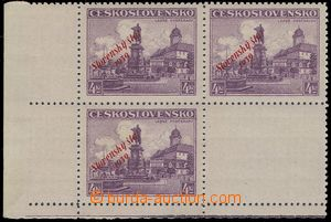 74307 - 1939 Alb.20, Poděbrady 4CZK, LL corner blk-of-4 with coupon,