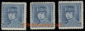 74333 - 1939 Alb.1, modrý Štefánik, 3ks, 1x zk. Gi., katalog 2700Sk