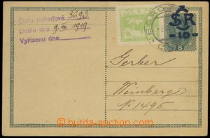 74413 - 1919 CDV 1b, modrý přetisk, dofrank. zn. Pof.3, DR Borotí