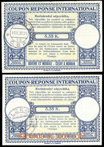 74416 - 1939 CMO 1, 2 pcs of reply coupons, postmark Plzeň 1939, fol