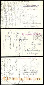 74459 - 1919-20 Čs. nemocniční vlak č. 28, 3ks pohlednic s různ