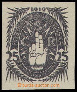 74578 - 1919 návrh prof.J.Bendy, 2.soutěž, hodnota 25h, Ruka, če