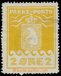 74579 - 1915 GREENLAND  Mi.5A parcel stmp 2 Øre yellow, cat. 90