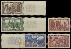 74587 - 1950 Mi.299-303, People's Aid, 3x marginal pieces with coupo