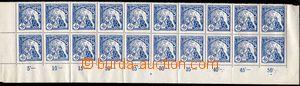 74618 - 1919 Pof.29A, 50h modrá, dolní 20-pás s okraji, počítadly a