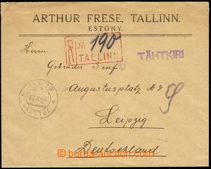 74646 - 1921 Reg letter to Germany, on reverse with Mi.28 2x, CDS TA