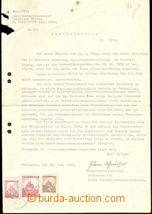 74680 - 1940 Žádost o důchod adresovaná poštovnímu ředitelstv