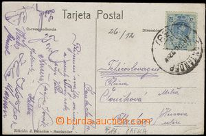 74682 - 1922 SPORTSMEN / FOOTBALL postcard sent from tour to Spain w