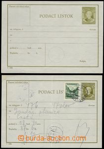 74706 - 1945 CPL2c, Hlinka 50h, olive-green, uprated stamp. 50h, 2x