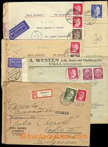 74708 - 1940-44 comp. 10 pcs of letters to Bulgaria, 2x Reg, 2x as A